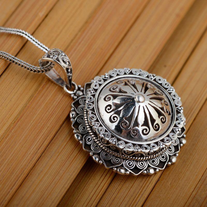 [Argent] cerf roi gawu boîte pendentif Shurangama mantra S925 en argent sterling en gros argent style texte