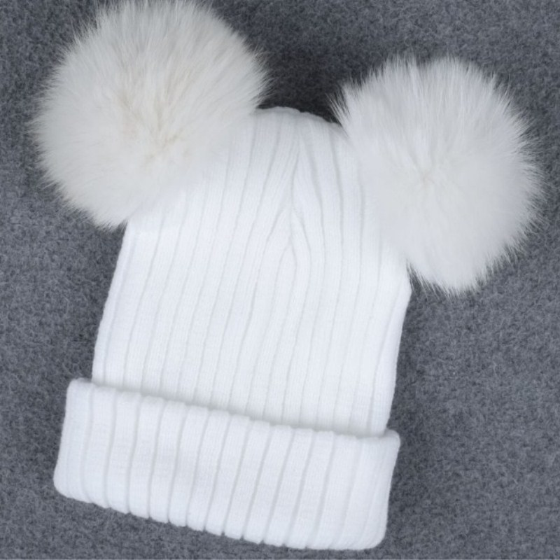 Winter fur pompom knitted hat cap Women elegant autumn white   skullies     beanies   Casual streetwear warm female black cap