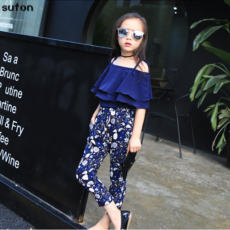 suton Baby Girls Clothes Cool Girls Set New Summer Lotus Leaf Tops+floral Printing Pants Cozy 2PCS Baby Girls Clothes Kids Set