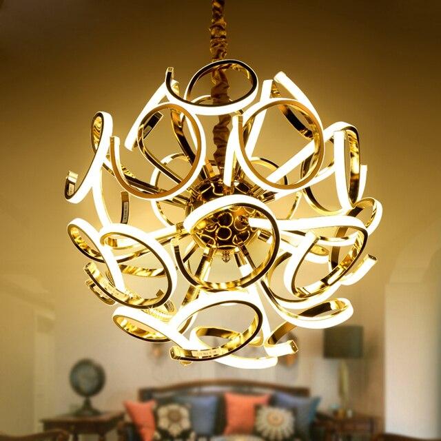 ZX Modern Gold Luxury Metal Pendant Lamp American Creative Circular LED Lamp for Living Room Bedroom Villa LED Chip Sphere Light