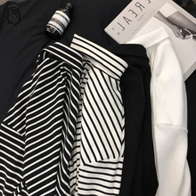 2019 New Black White Striped Long Sleeve T Shirts Women Loose T-shirt Womens Female Fashion Korean Style School Students Females
