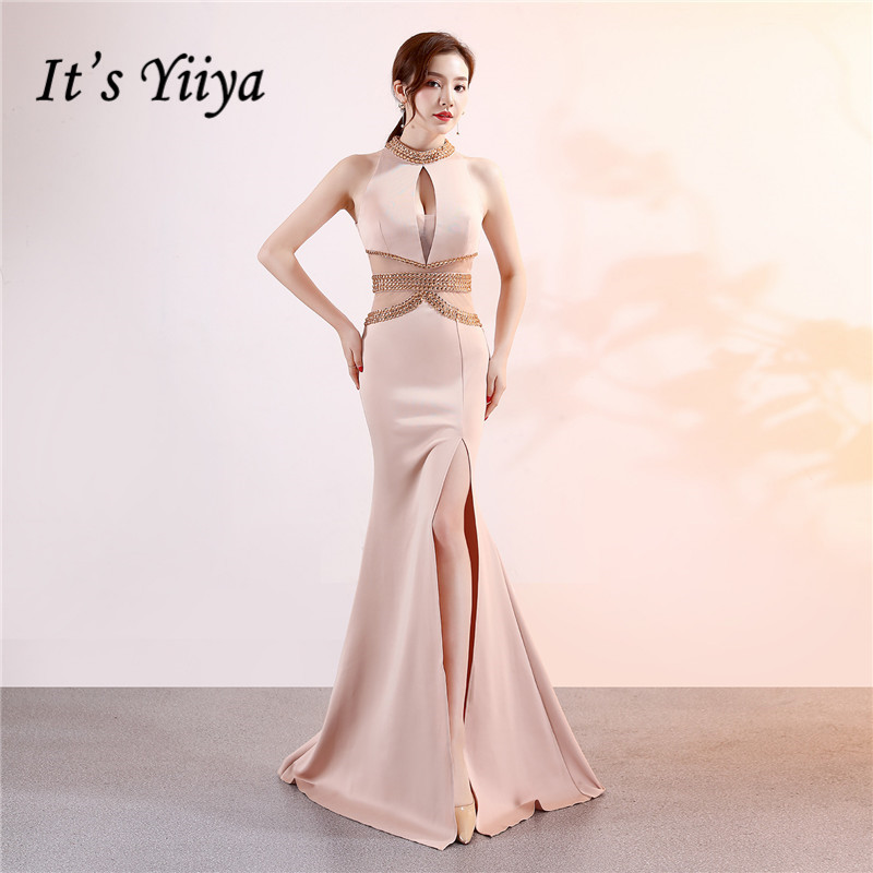 It's Yiiya Beading Party gowns sleeveless Halter zipper back long   evening     dress   Floor-length Backless Mermaid Prom   dresses   C122