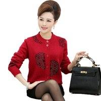 WAEOLSA Women Cashmere Wool Cardigan Sweaters Middle Aged Womans Woollen Blends Sweater Sequind Flower Knitwear Soft