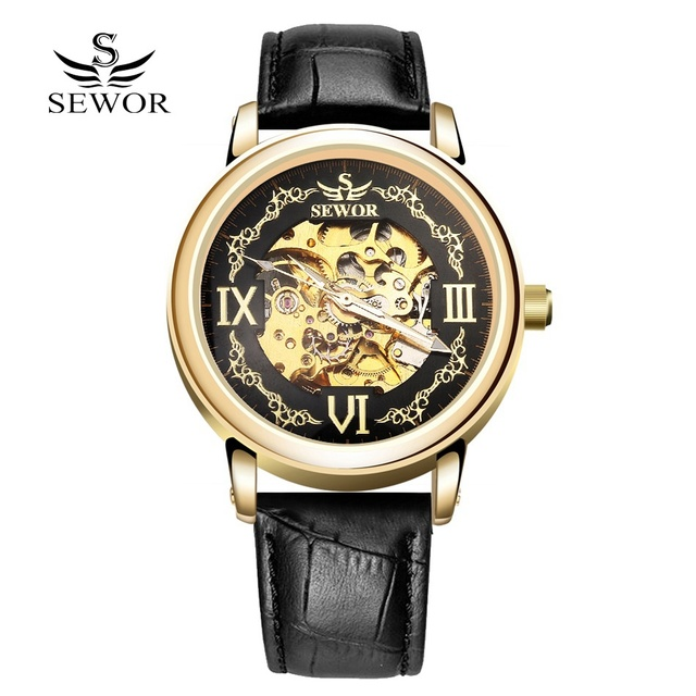 SEWOR 2017 Fashion Watch Men Luxury Gold Skeleton Steel Leather Mechanical Sport Watches Men Classic Automatic Watch For Men