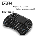 Para Hebraico, Russo, Araibic, Inglês Mini 2.4 Ghz Wireless Keyboard i8 Air Mouse Controle Remoto Touchpad Para mini Laptop Tablet PC