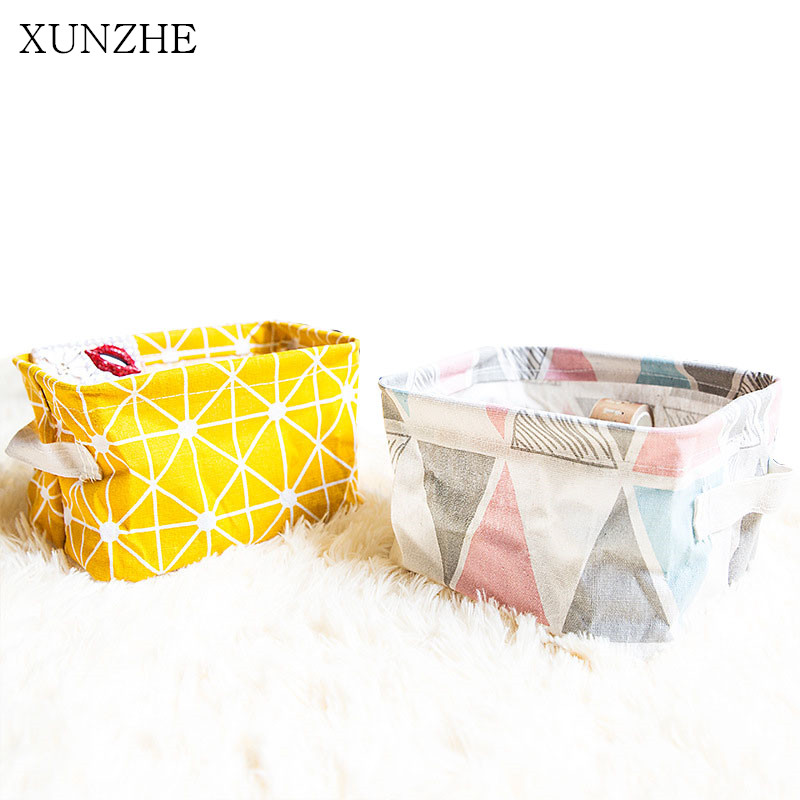 XUNZHE Color Stripe Household Cotton Linen Desktop Sundries Storage Baskets Organization Cosmetics Toys Snacks Receive Boxs