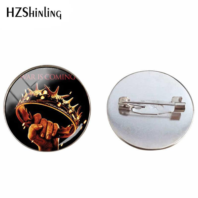 2019 Vintage Game Of Thrones Bros Kaca Cabochon Naga dan Raja Malam Perhiasan Kerajinan Tangan Bros Pin untuk pria Wanita