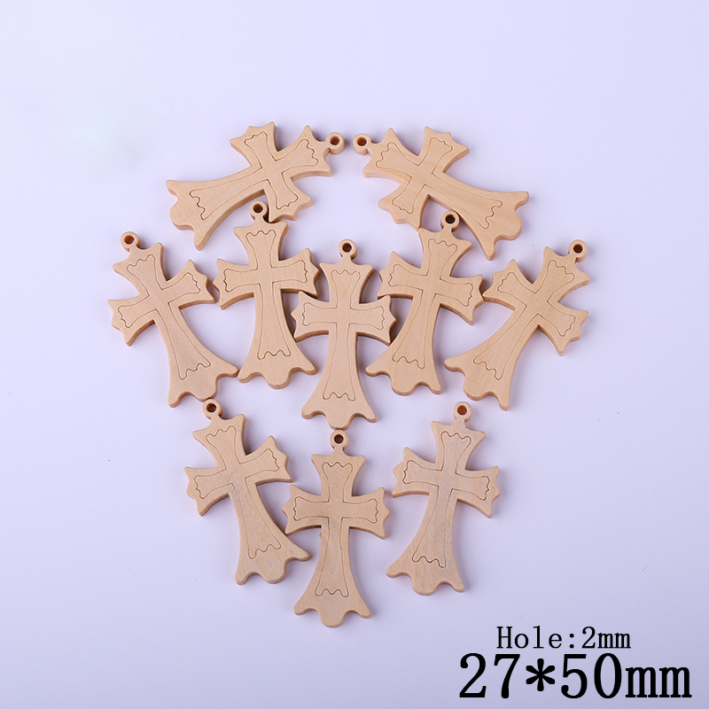 Wooden Cross Spacer Beads For Jewelry making DIY 27*50mm carved wood beads for jewelry European Beads