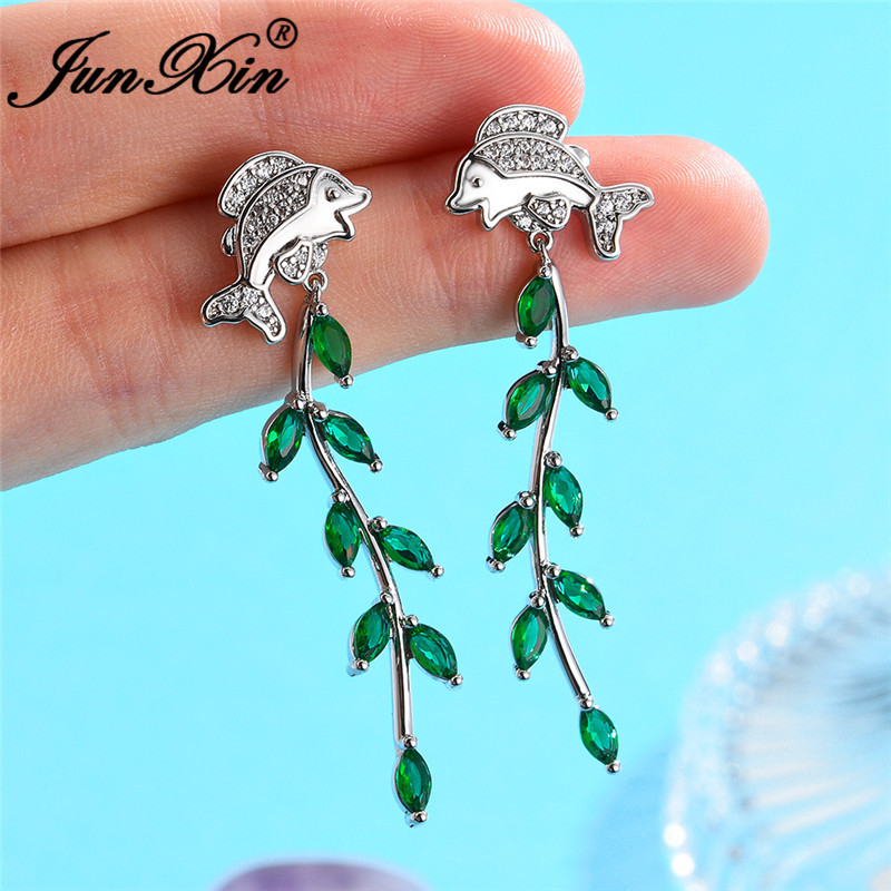 JUNXIN Original Cute Water Grass Golden Fish Drop Earrings For Women White Rose Gold Color Green Zircon Beach Earrings Jewelry