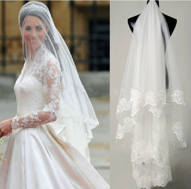 Velos de Novia Hot Sell Bridal Veil Lace Edge Kate Middleton Veil White Ivory Wedding Veil 2 Layers 2017 Wedding Accessories