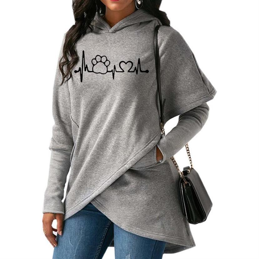 Dog Paw Love Letters Print Split Hoodies For Women Tops Hoodies Women Kawaii Sweatshirt Femmes Cotton Casual Girls Sweatshirts