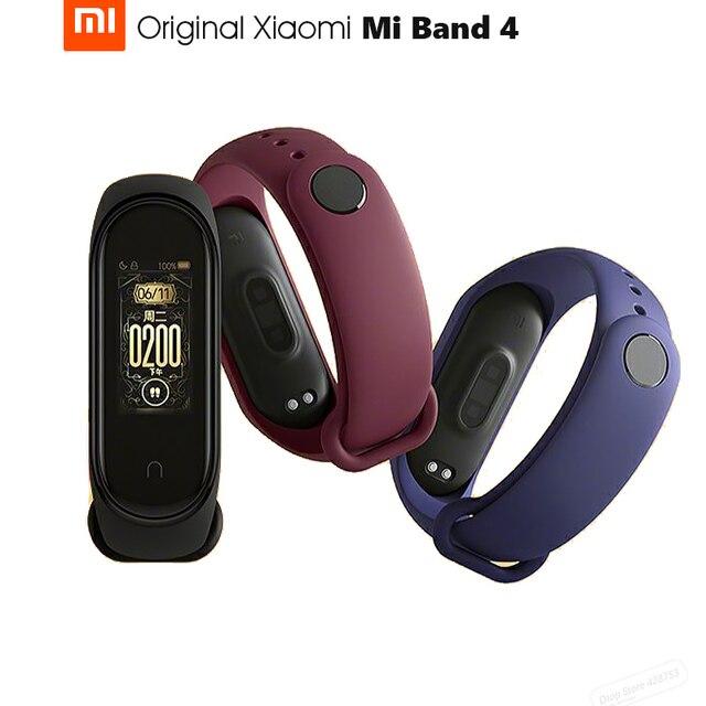 Pulseira smart xiaomi mi band 4 original, 0.95 polegadas, tela touch screen, controle de música, monitor cardíaco bt bt