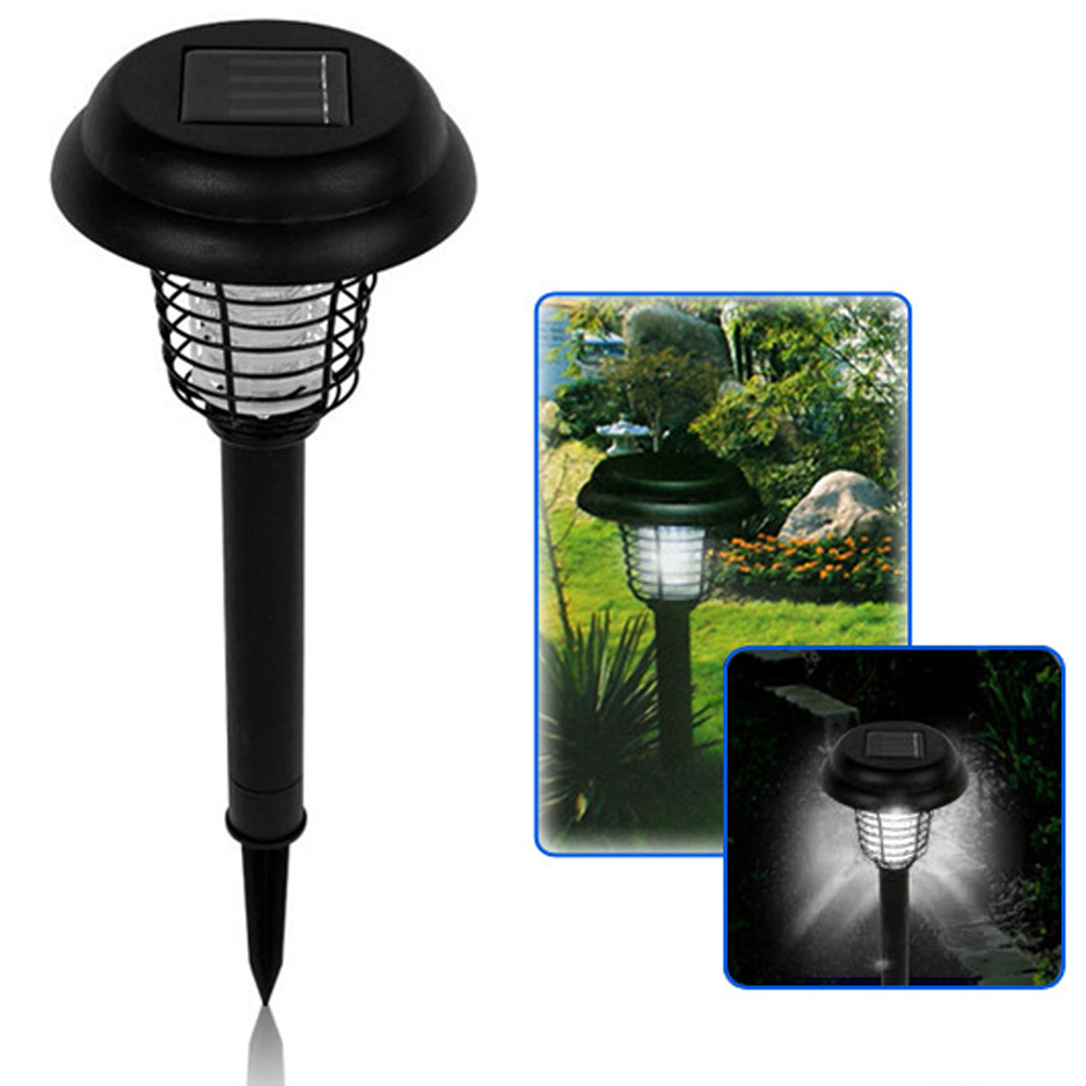 Porch Light Bug Zapper: UV LED Solar Powered Outdoor Yard Garden Lawn Anti