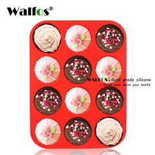Walfos Thick 12 Cup Silicone Muffin pan &Cupcake Baking Pan Non-Stick silicone cake mold-12-Cup round Mini Muffin Pan form стоимость