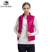 CIVICHIC 15Color Top Fashion Lady Spring Autumn Winter Ultra Light Down Jacket Vest Female Short Thin