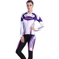 Veobike kobiety 2017 pro team racing bike odzież zestaw mtb jazda na rowerze jersey Długie ubrania Rowerowe Zestaw Kobiet Koszulka Rowerowa Sport nosić