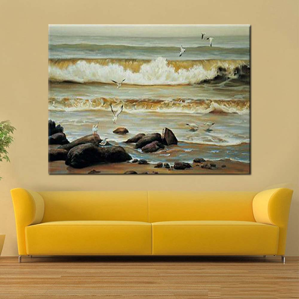 Hand Painted Modern Abstract Seascape Oil Painting Beach Sea Wave ...