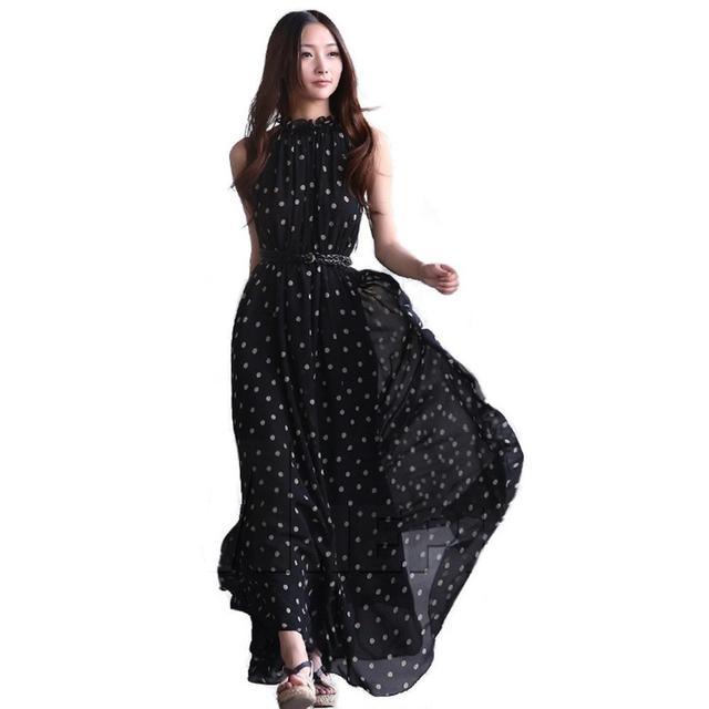 2018 летние длинные макси богемское пляжное платье Для женщин Повседневное свободные шифоновое платье в горошек женские короткий рукав Винтаж уличная