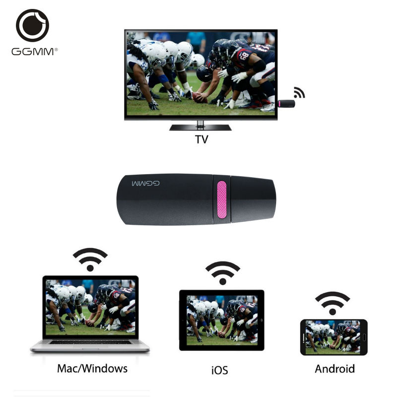 GGMM Chromecast Miracast Ezcast 2.4G TV Stick Mini PC Android HDMI WiFi Dongle DLNA Streaming Media Player Mirascreen Anycast