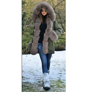 Image 3 - Tatyanaผู้หญิงจริงขนสัตว์Parka Coat Foxขนสัตว์และCuffผู้หญิงParkasหนาฤดูหนาวWarm Natural Fur JacketยาวFoxขนสัตว์