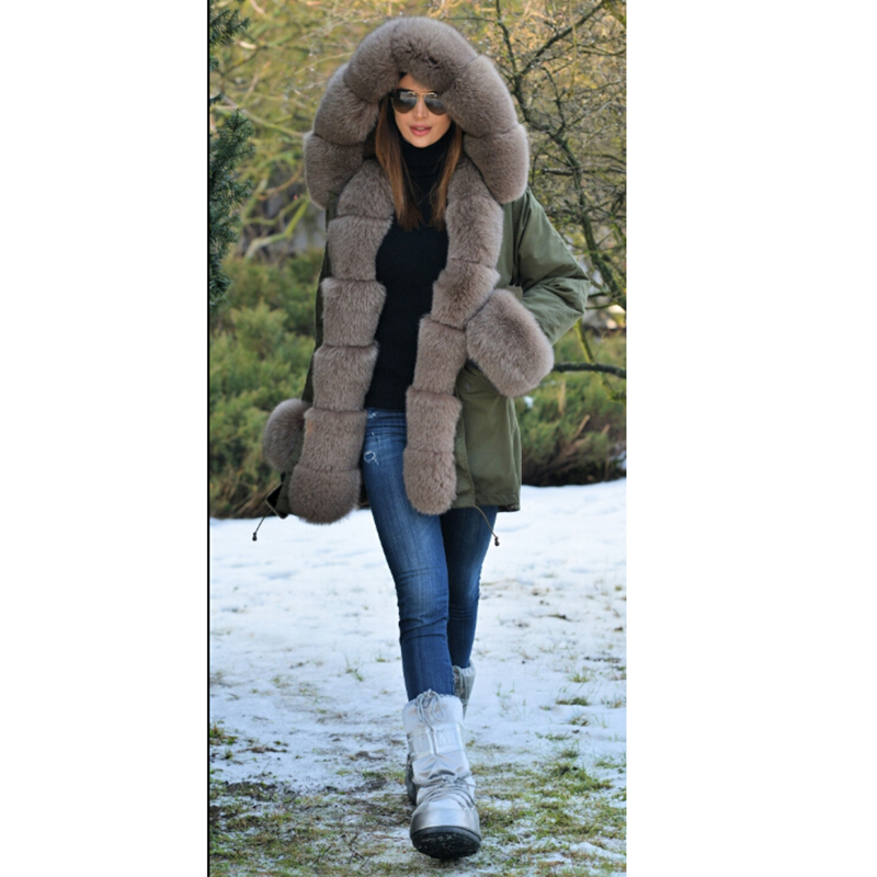 Image 3 - Tatyana Women Real Fur Parka Coat Fox Fur Collar And Cuff Women's Parkas Thick Winter Warm Natural Fur Jacket Long Fox Fur Coats-in Real Fur from Women's Clothing