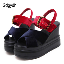 Купить с кэшбэком Gdgydh Drop Shipping Platform Sandals Women Summer Shoes Wedges High Heels Buckle Strap Female Casual Shoes On Summer Red Yellow