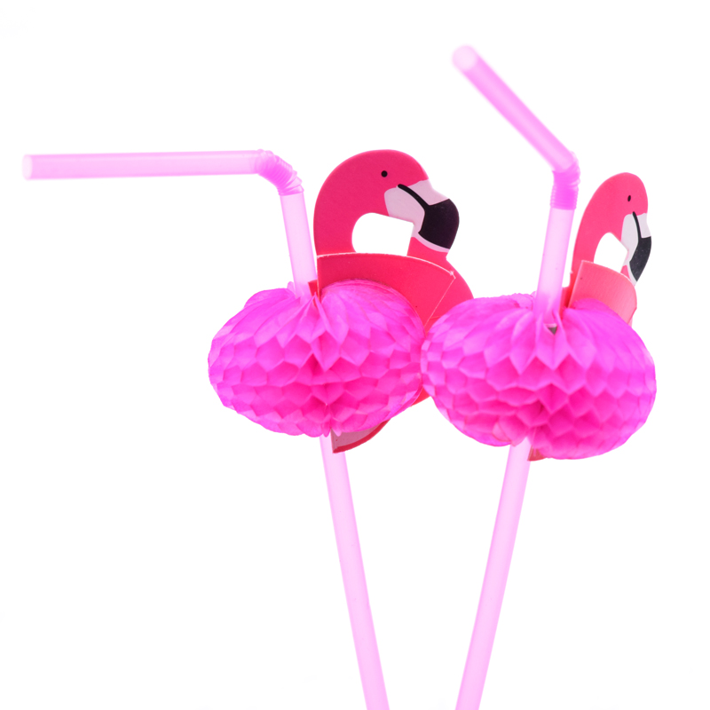 50PCS Cute DIY Flamingo Straw Plastic Drinking Straws Kids Birthday/Wedding/Pool Party Decoration Supplies