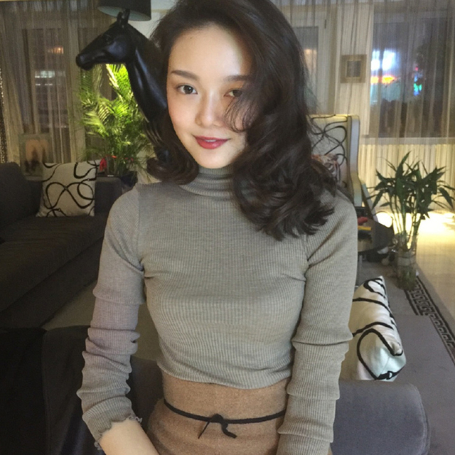 Highneck Sweater Women Fashion 2018 Autumn Winter   Tops Women Knitted Pullovers Long Sleeve Jumper Pull Femme Clothing 19014
