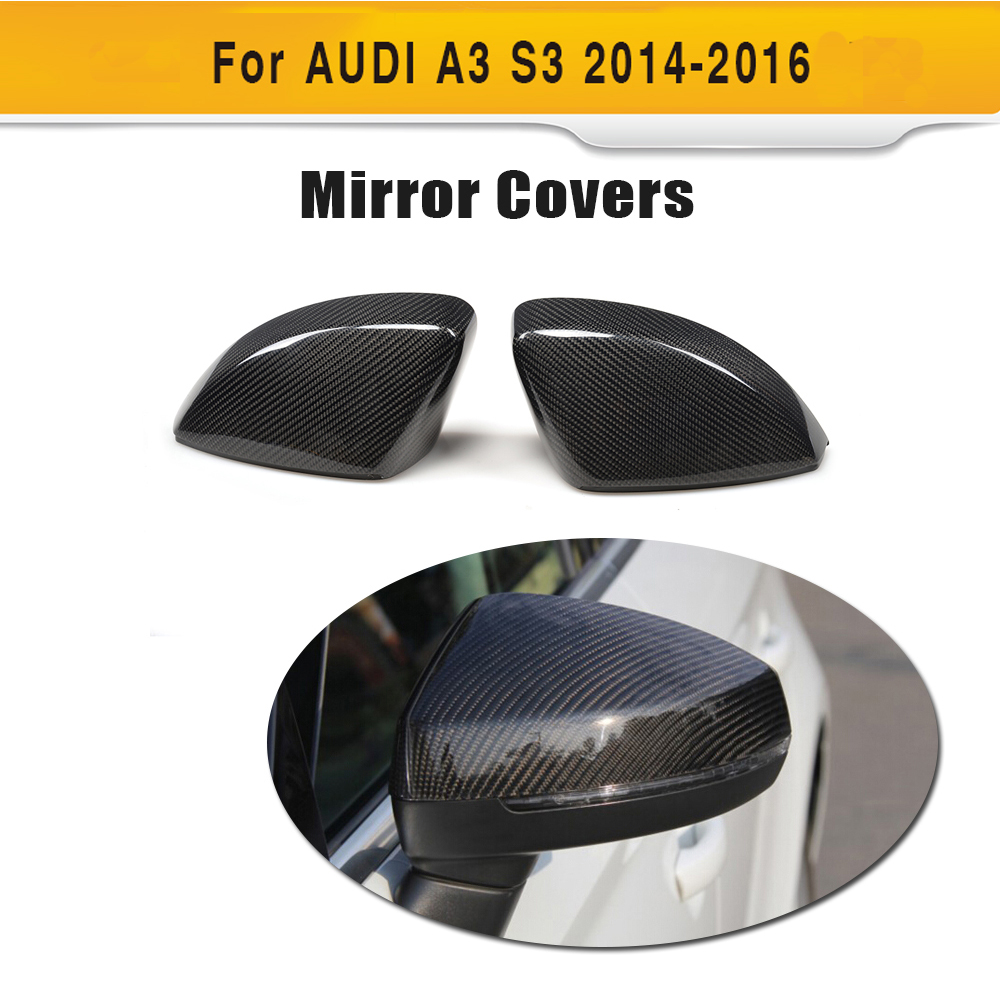 carbon fiber Replace side mirror covers fender trim for Audi A3 Standard S line S3 RS3 8V 14-16 Hatchback Sedan Convertible