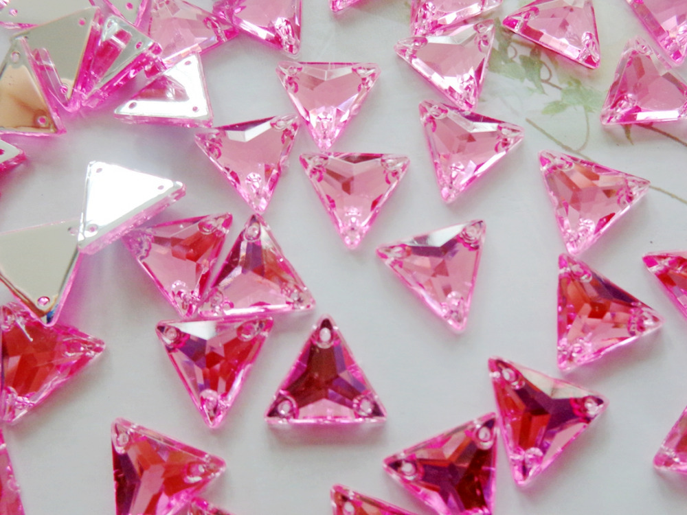 Pink beads 12mm Triangle shape rhinestones Sew on crystal gem stones Acryl crystal strass diamond hand sewing 150pcs