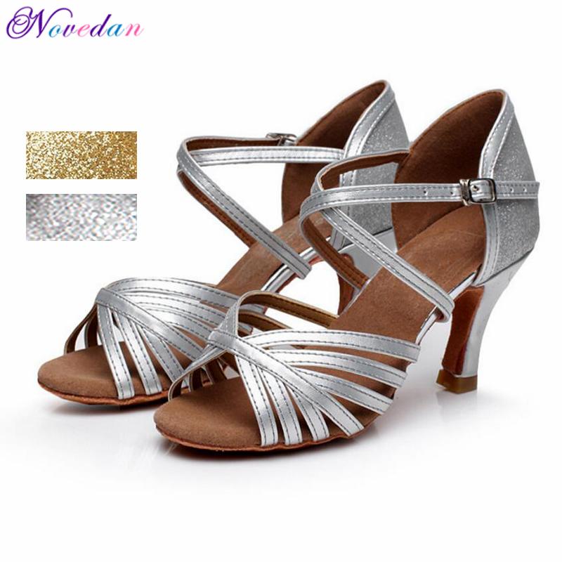 Professional Silver Gold Salsa Dance Shoes For Women Discount Latin Dance Shoes Popular Sexy Salsa Shoes Ladies 5cm/7cm Heel