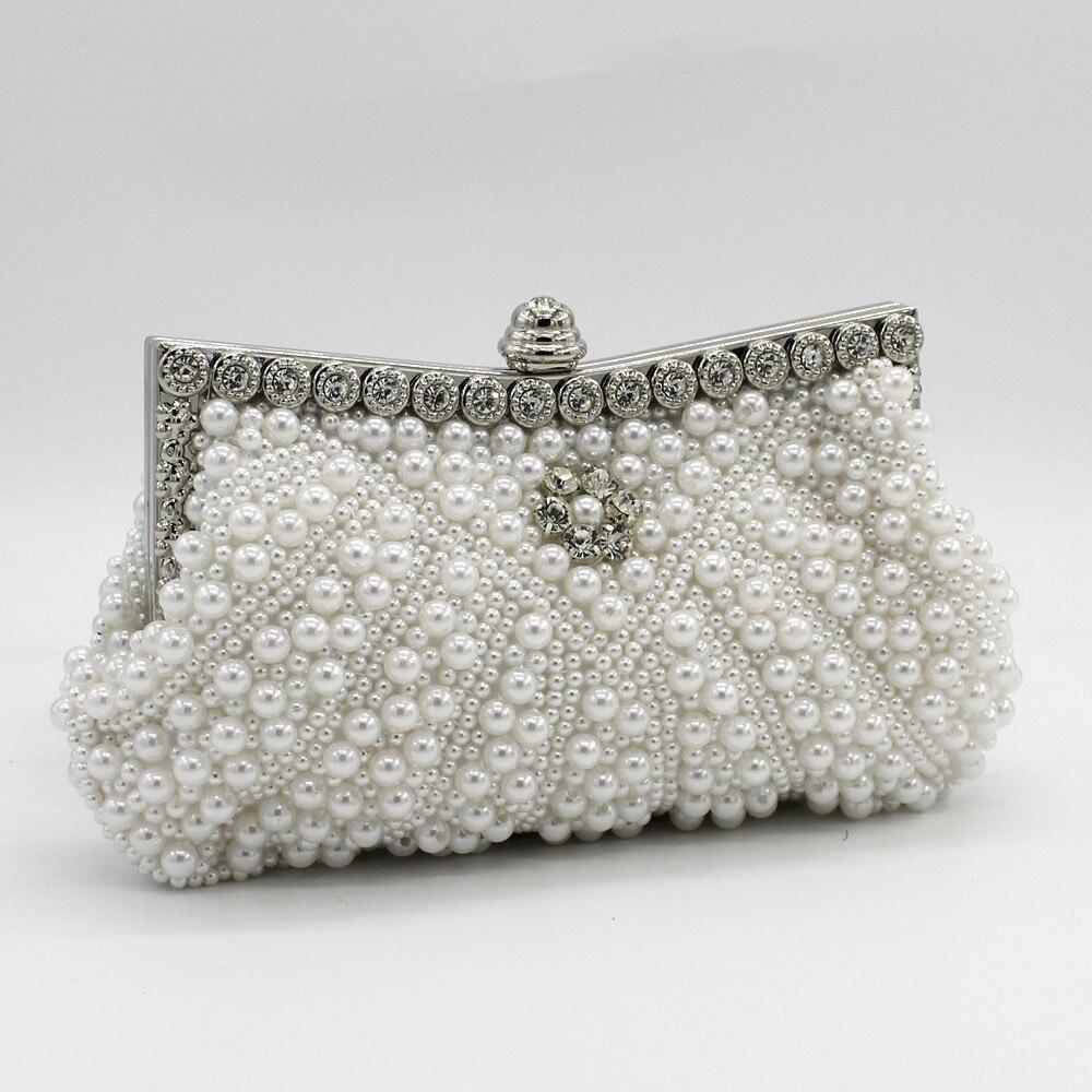 49cc906c584 DAIWEI Women Evening Clutch Bag Ladies Wedding Bridal Handbag Pearl Beaded  Diamond Day Cluthes Crystal Purse Party Wedding Beige