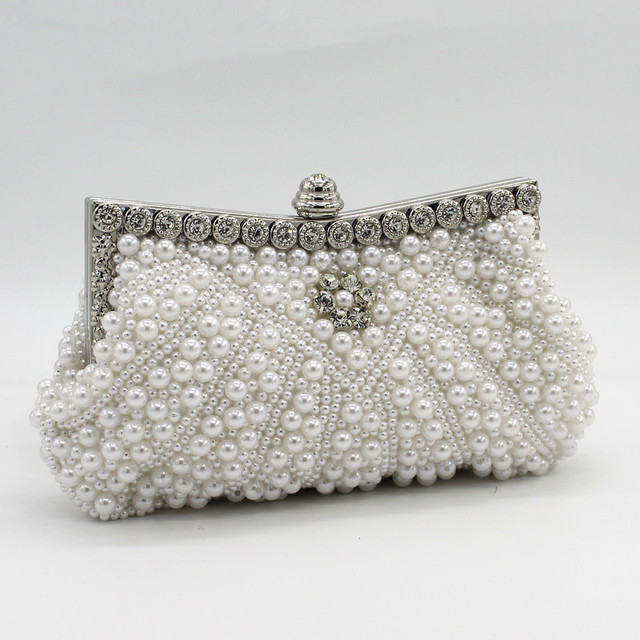 DAIWEI Women Evening Clutch Bag Ladies Wedding Bridal Handbag Pearl Beaded  Diamond Day Cluthes Crystal Purse Party Wedding Beige fc20d535266a