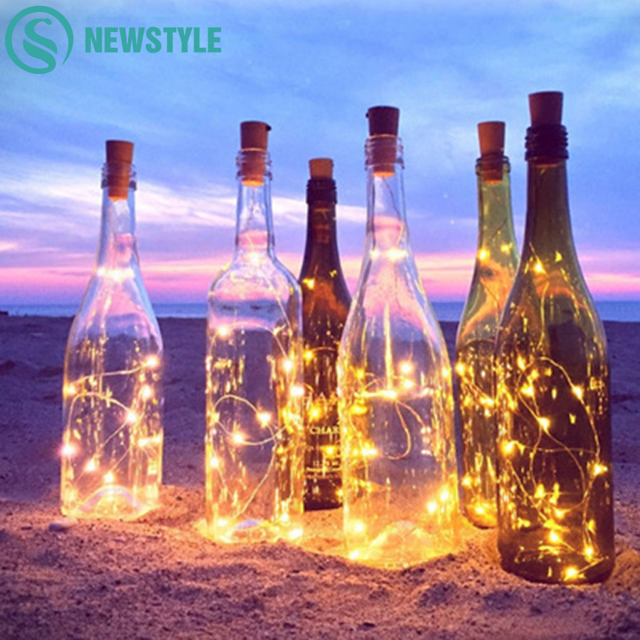 6pcs LED Bottle Copper Wire String Lights LED Fairy Lights Christmas Wedding Decoration Lights Battery Operate Bottle Lights