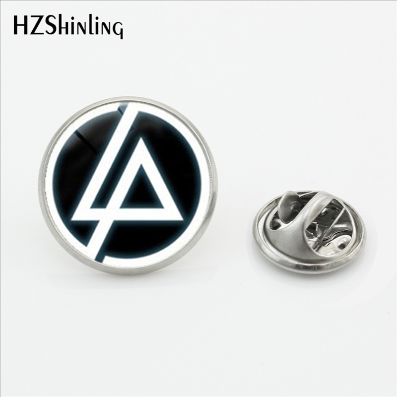 2017 New Fashion Linkin Park logo Lapel Pins Stainless Steel Linkin Park Rock Band Butterfly Brooches Pins Glass Dome Jewelry