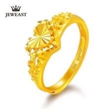 JLZB 24K זהב טהור טבעת אמיתי AU 999 מוצק זהב טבעות נחמד מבריק לב יפה יוקרתי טרנדי תכשיטים קלאסיים חם למכור New2020