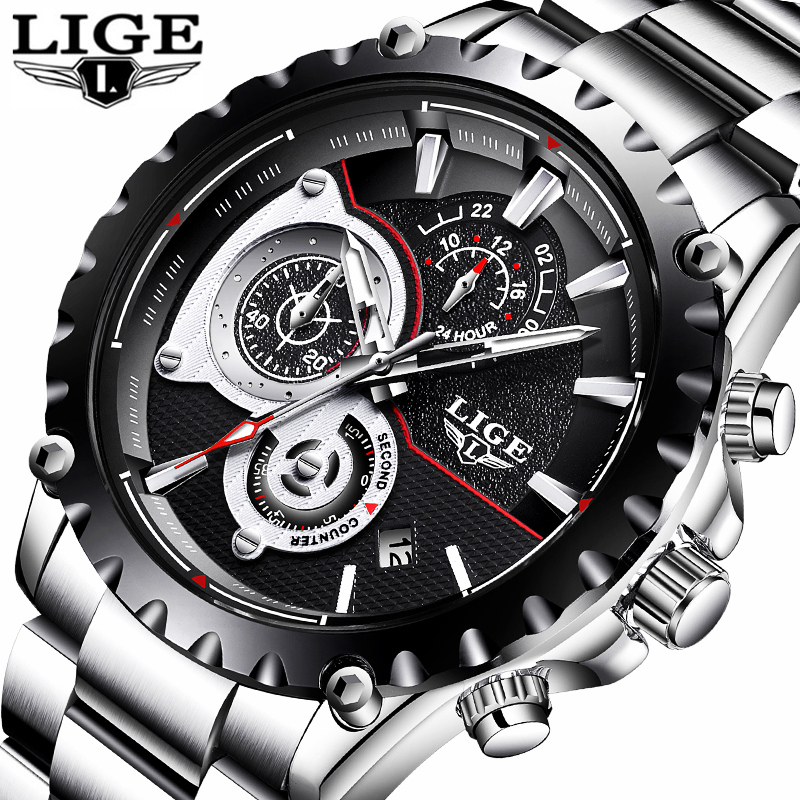 Mens Watches Top Brand Luxury LIGE Watch Men Fashion Sport Quartz Clock Full Steel Business Waterproof Watch Relogio Masculino