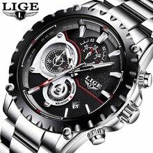 LIGE Mens Relojes de Primeras Marcas de Lujo Reloj de Los Hombres Del Deporte de La Moda de Cuarzo Reloj Completo Steel Business Reloj Impermeable Relogio masculino