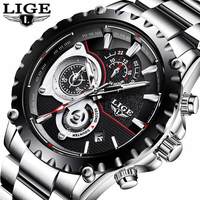 Mens Watches Top Brand Luxury LIGE Watch Men Fashion Sport Quartz Clock Full Steel Business Waterproof Watch Relogio Masculino