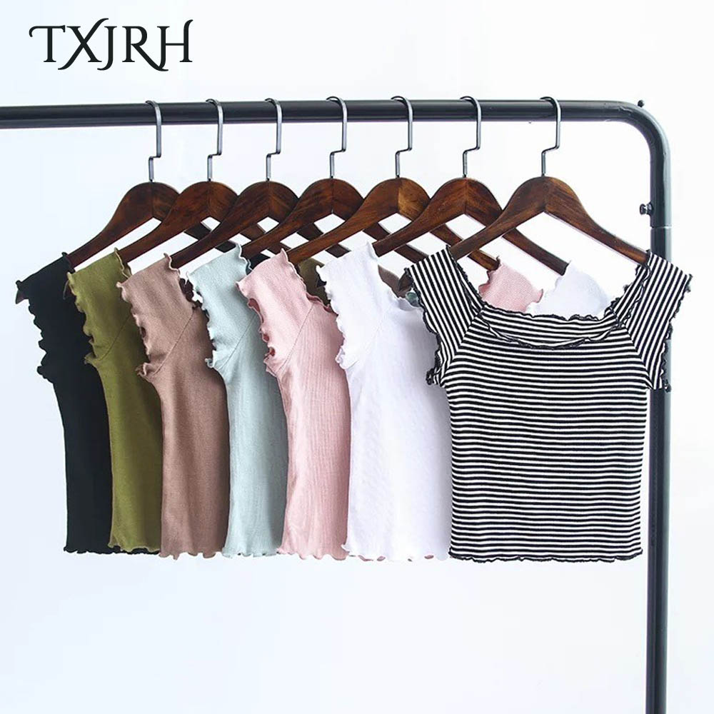 TXJRH Sexy Off Shoulder Slash Neck Pullover Ruffles Pullover Striped Crop Short T-Shirt Slim Women Tee Tops 7 Colors SY17-01-23