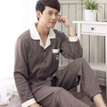Free Shipping New arrive 100% Cotton Long Sleeve Turn down Polka Dot Couples Gray Color Homewear Sets