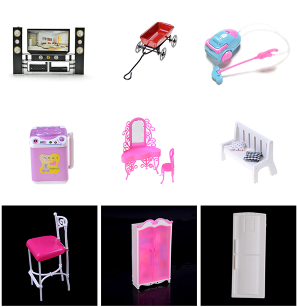 1x Mini Washing Machine Fridge Fan Bed for Barbie Doll Accessories Kelly Pretend Toys for Girls Doll Toy Accessories Play House
