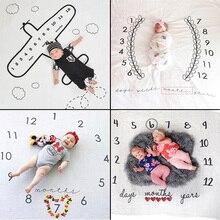 Детское одеяло для фотосессии, фон для фотосессии, тканевое одеяло с календарем для мальчиков и девочек, аксессуары для фото 100x100 см