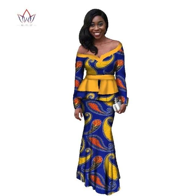 9d16df06844 Outono Novo Design de Moda Mulheres Cropped Tops de Roupas Africano    Vestido Sereia de Manga
