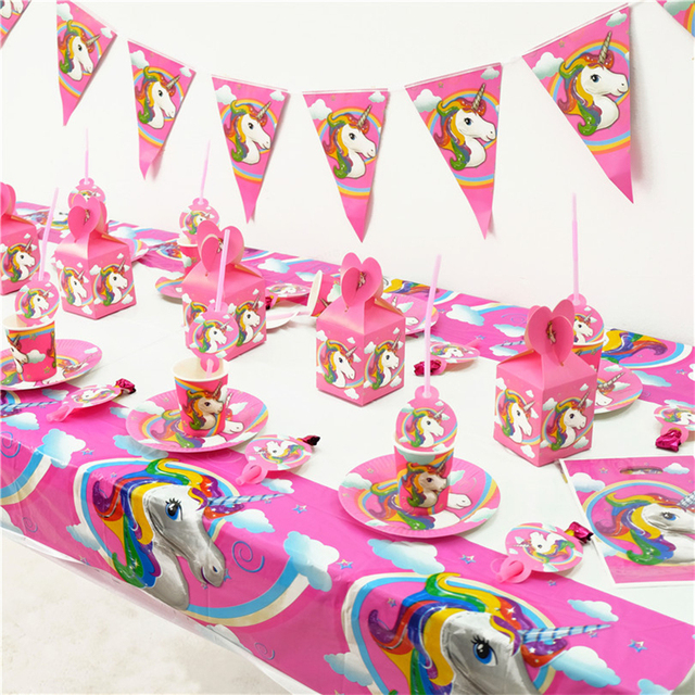 VOILEY Unicorn Theme Birthday Party Set Plates Banner Glasses Kids Baby Shower Favors Cups Dishes Decor9