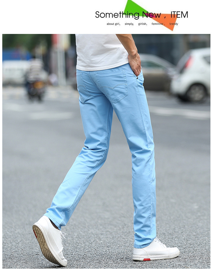 Business Casual Pants 11 Colors New Casual Pencil Pants Men Slim Pant Straight Trousers Solid Leisure Zipper Spring Summer k919 32