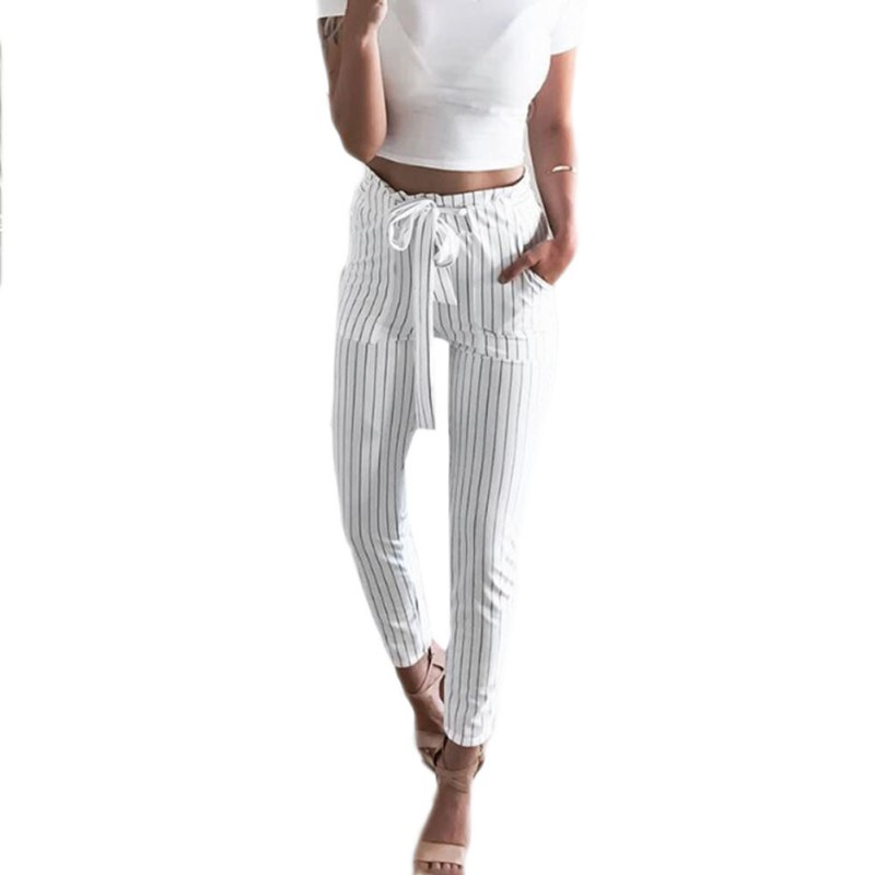 2018 New Striped OL Chiffon High Waist Harem Pants Women String Summer Style Casual Pants Female Trousers