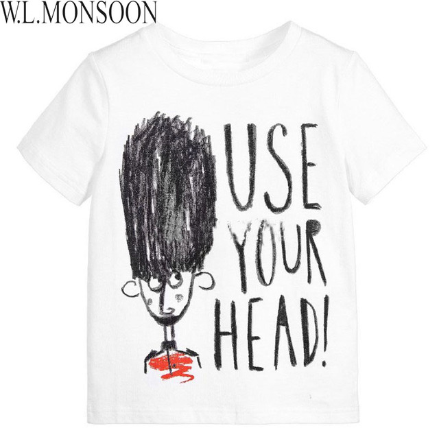 W.L.MONSOON Boy T shirts for Kids 2017 Brand Summer Toddler Boy Tops Girls T shirt Letter Print Children Tshirt for Boys Clothes