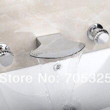 Широкий носик керамический бортике 3 шт. Ванна Двойные ручки хромированные польский ванная раковина смеситель кран L-1267