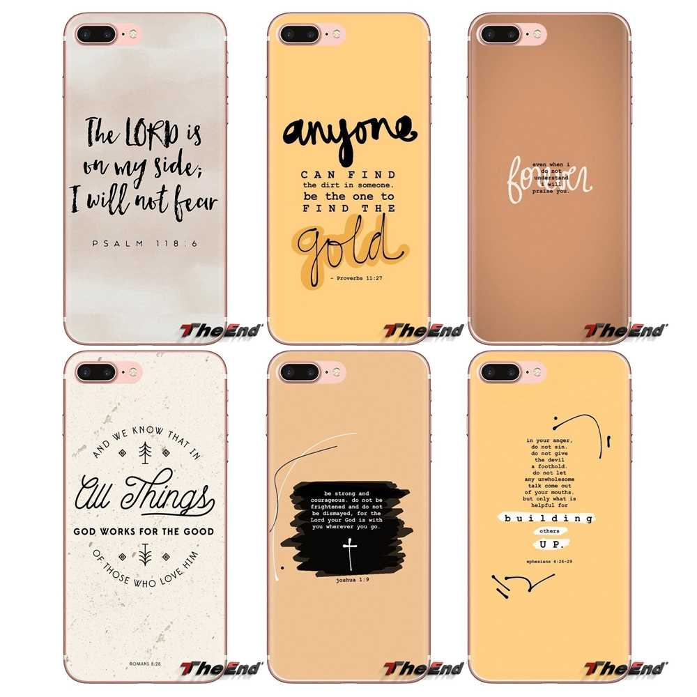 Untuk IPod Touch Apple Iphone 4 4S 5 5S SE 5C 6 6S 7 8 X XR XS Plus MAX Alkitab Yesus Quotes Transparan Soft Shell Cover